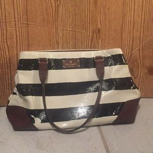 AS IS Kate Spade Black And White Striped Bag